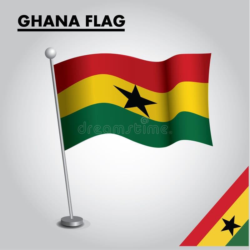 GHANA flagganationsflagga av GHANA på en pol stock illustrationer