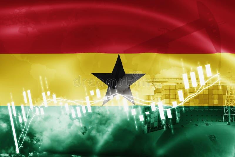 Ghana-Flagge, Börse, Austauschwirtschaft und Handel, Erdölgewinnung, Containerschiff im Export und Importgeschäft und Logistik vektor abbildung