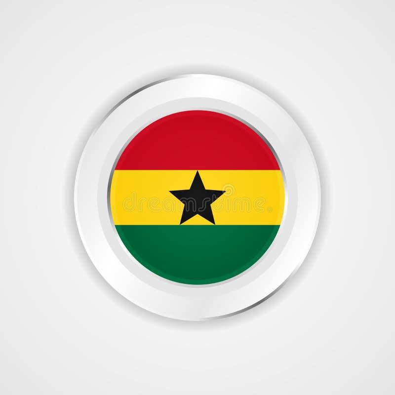 Ghana-Flagge in der glatten Ikone stock abbildung