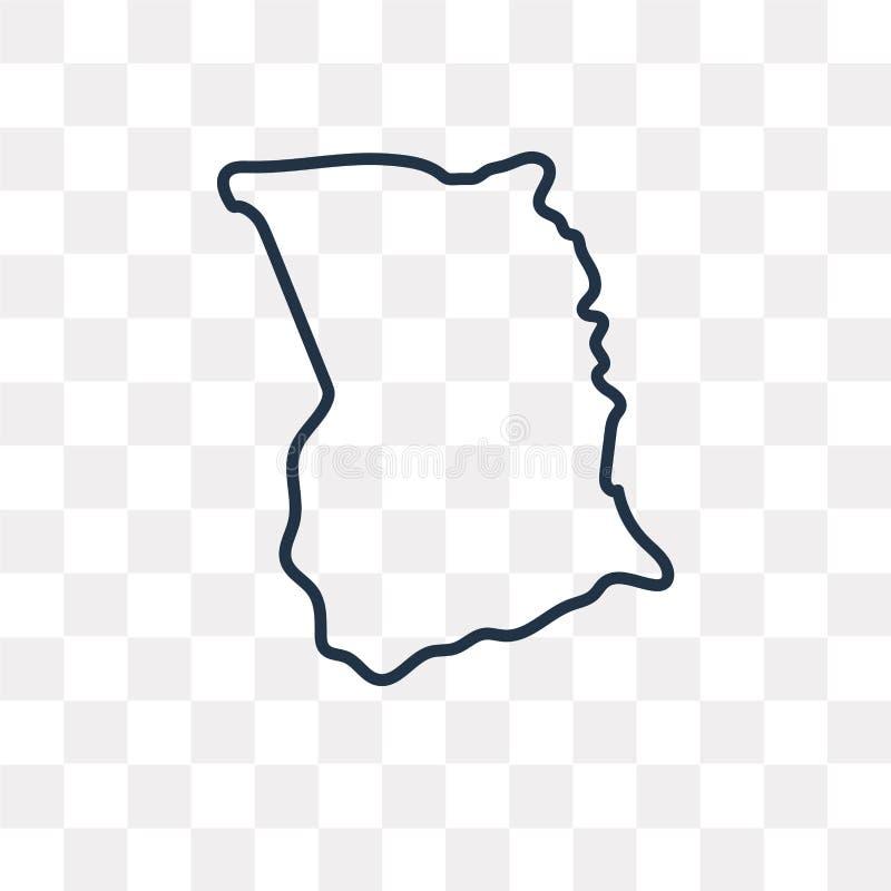 Ghana-Kartenvektorikone lokalisiert auf dem transparenten Hintergrund, linear stock abbildung