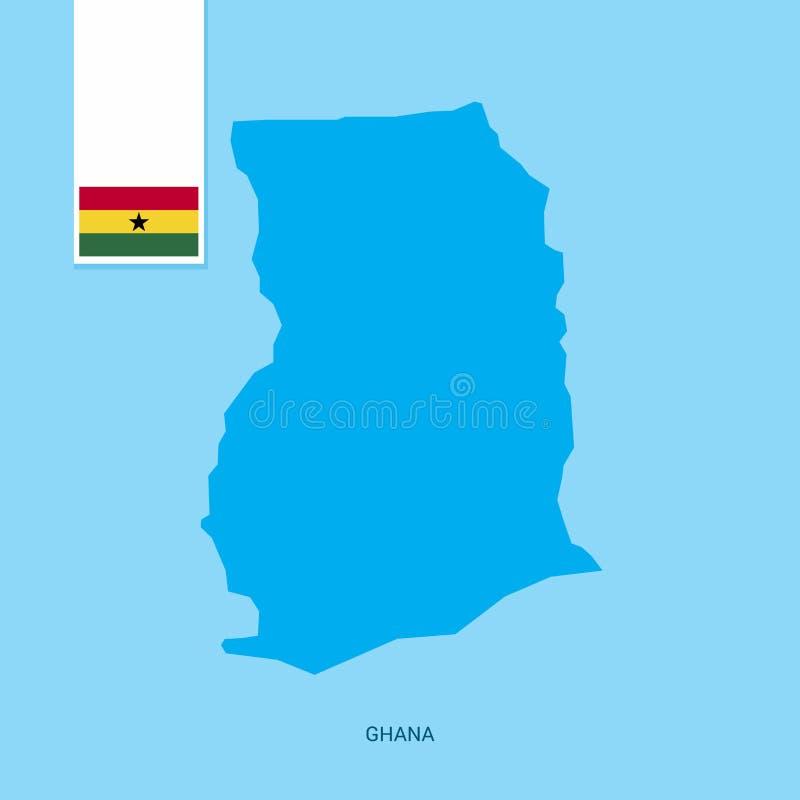 Ghana-Land-Karte mit Flagge über blauem Hintergrund lizenzfreie abbildung