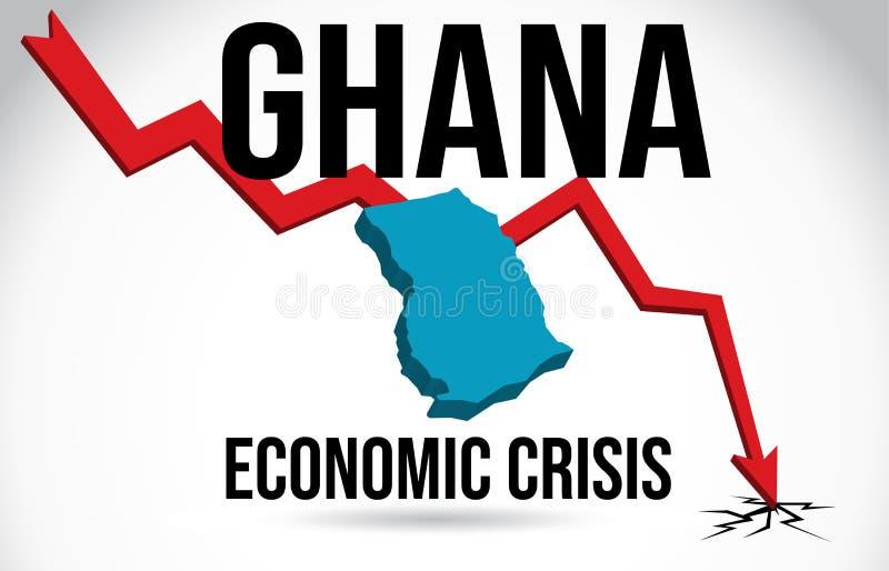 Ghana Map Financial Crisis Economic Collapse Market Crash Global Meltdown Vector. Illustration royalty free illustration