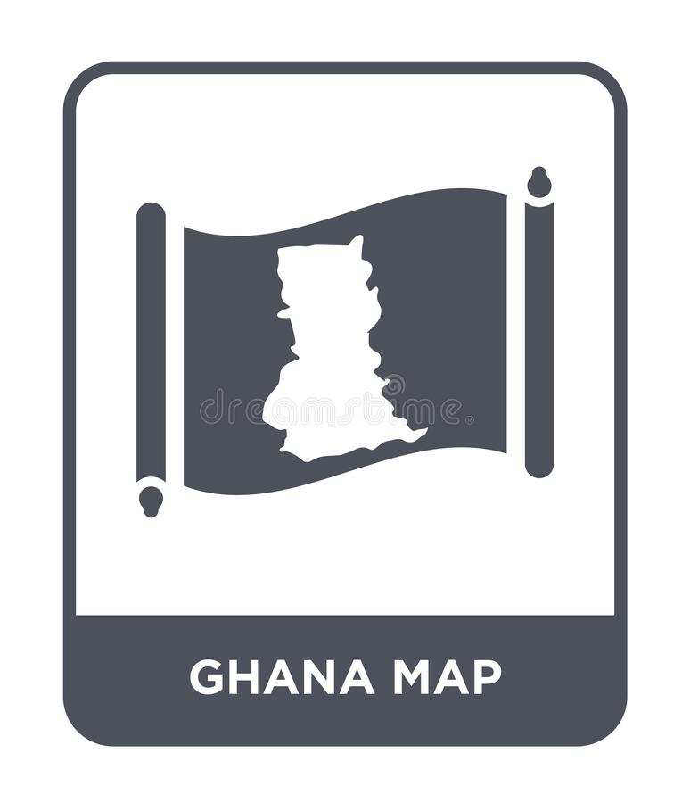 Ghana map icon in trendy design style. ghana map icon isolated on white background. ghana map vector icon simple and modern flat. Symbol for web site, mobile royalty free illustration
