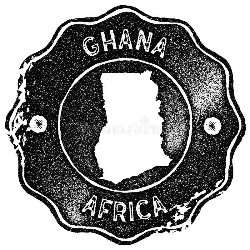 Ghana mapy rocznika znaczek royalty ilustracja