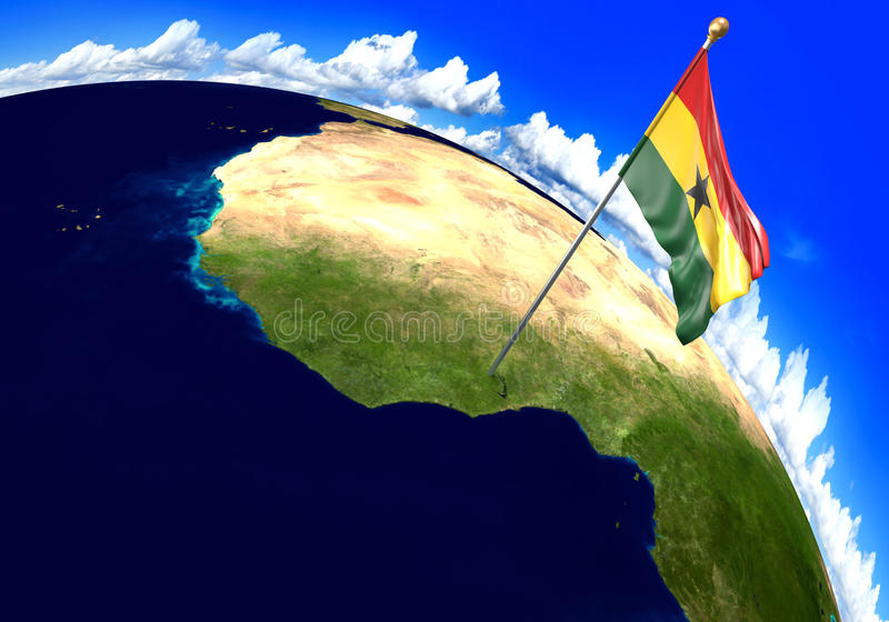Ghana national flag marking the country location on world map 3d download ghana national flag marking the country location on world map 3d rendering parts gumiabroncs Gallery