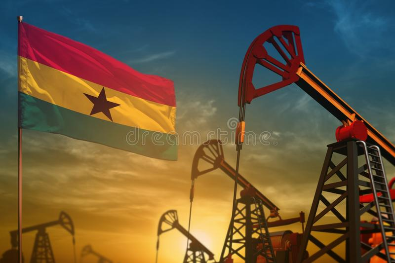 Ghana oil industry concept. Industrial illustration - Ghana flag and oil wells against the blue and yellow sunset sky background. Ghana oil industry concept stock image