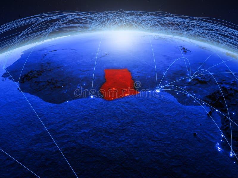 Ghana op blauwe digitale aarde met internationaal netwerk die mededeling, reis en verbindingen vertegenwoordigen 3D Illustratie stock foto