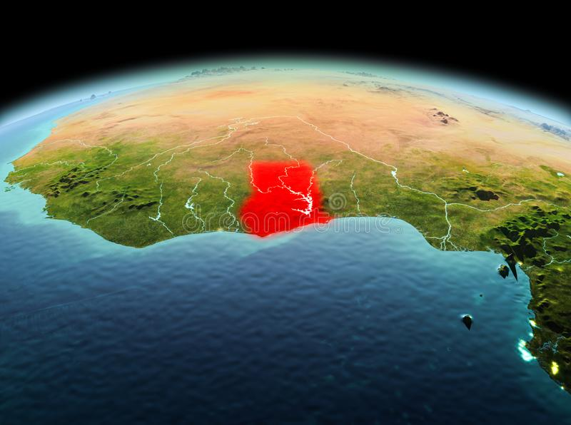 Ghana on planet Earth in space. Morning above Ghana highlighted in red on model of planet Earth in space. 3D illustration. Elements of this image furnished by stock photography