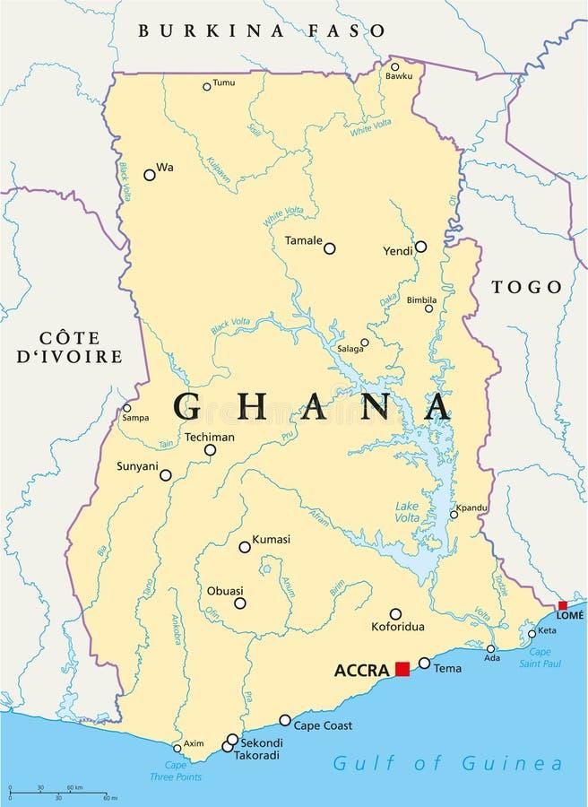 Ghana Political Map stock vector Illustration of tema 103603343