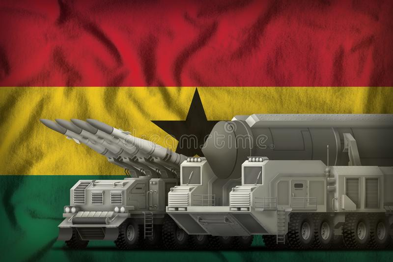 Ghana-Raketentruppenkonzept auf dem Staatsflaggehintergrund Abbildung 3D lizenzfreie stockfotos