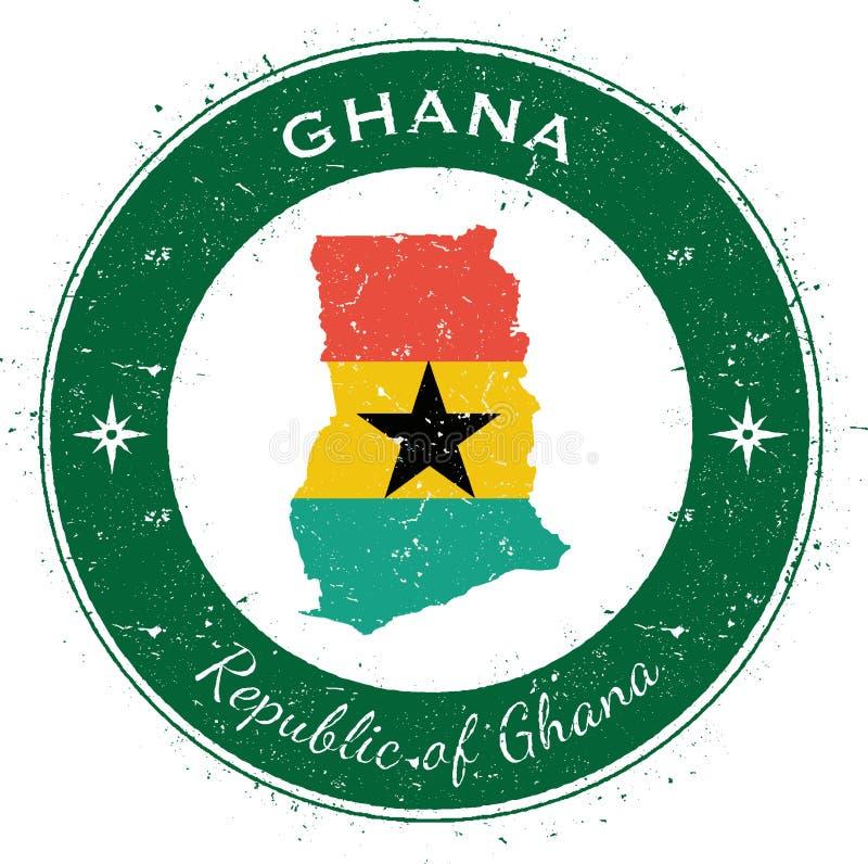Ghana runt patriotiskt emblem royaltyfri illustrationer