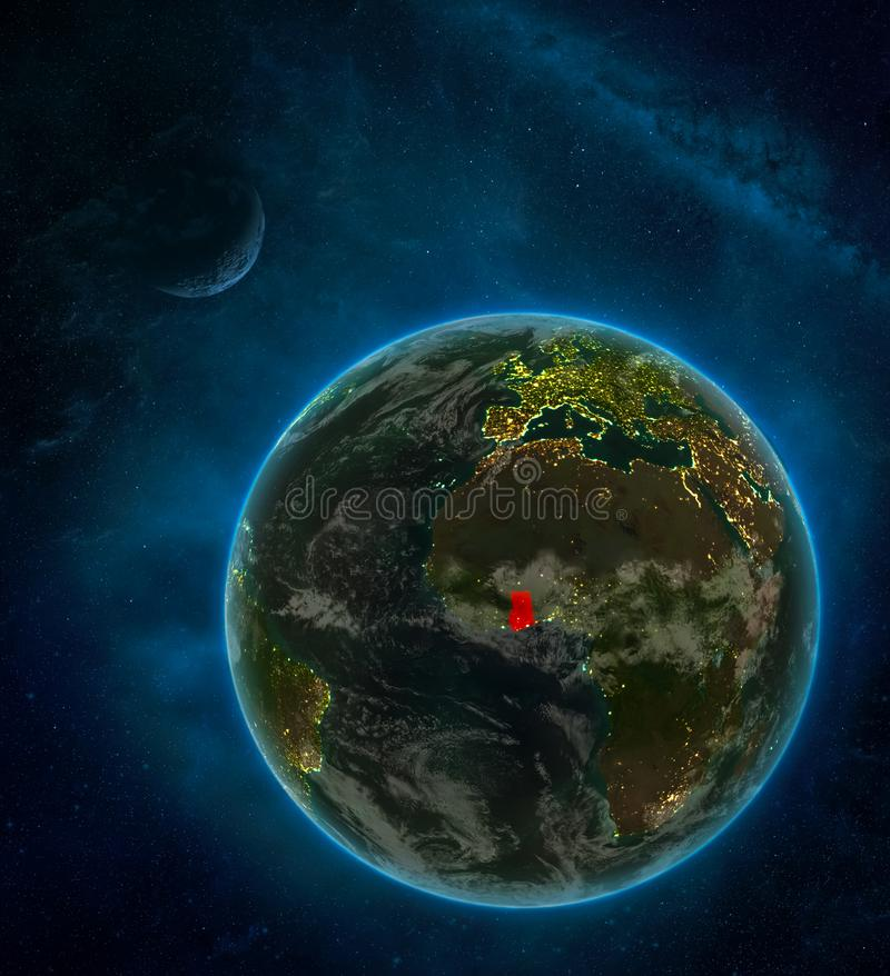 Ghana from space on Earth at night surrounded by space with Moon and Milky Way. Detailed planet with city lights and clouds. 3D. Illustration. Elements of this royalty free illustration