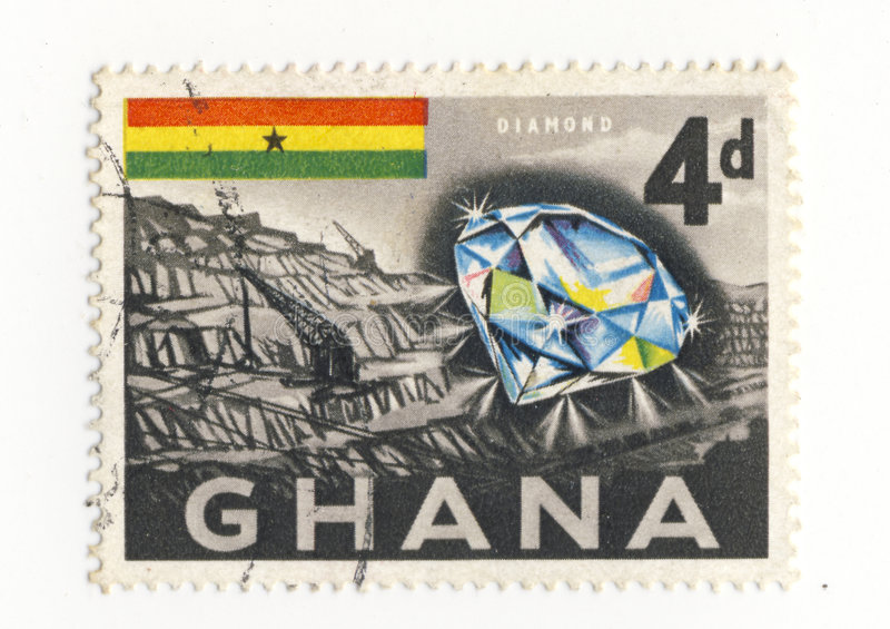 Ghana stamp w/diamond and mine stock photo