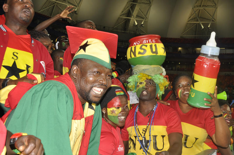 Ghana supporters. The African powerhouse Ghana growth in confidence by beating Niger in the African cup by 3 goals to o.Their coach Kwesi appiah was overjoyed stock photography