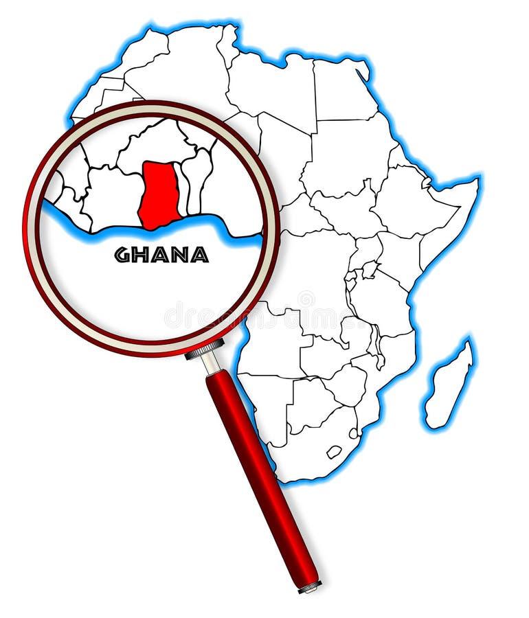 Ghana unter einer Lupe lizenzfreie abbildung