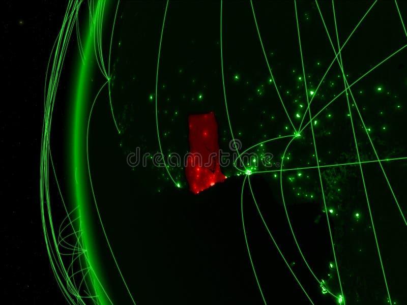 Ghana van ruimte op groen model van Aarde met internationale netwerken Concept groene mededeling of reis 3D Illustratie stock foto's