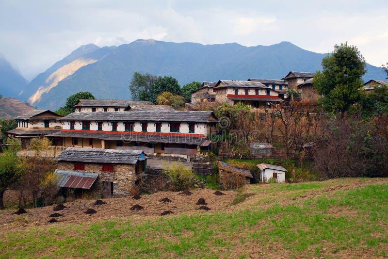 Ghandruk村庄,尼泊尔 免版税库存图片