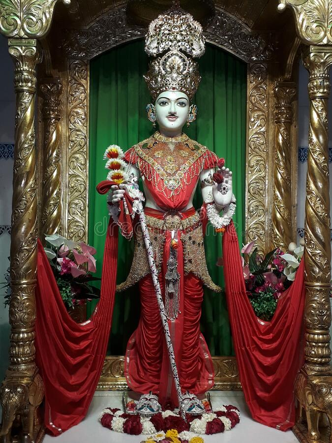 Free Ghanshyam Maharaj In Surat Baps Mandir Royalty Free Stock Photography - 186923177