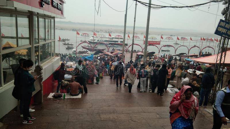 Ghat de Varanasi Ganga fotografia de stock royalty free