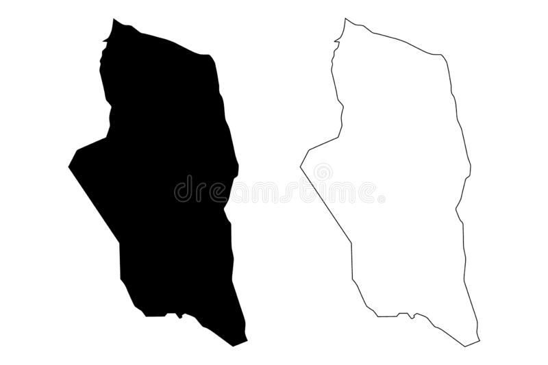 Ghat District Districts of Libya, State of Libya, Fezzan map vector illustration, scribble sketch Yat map.  stock illustration