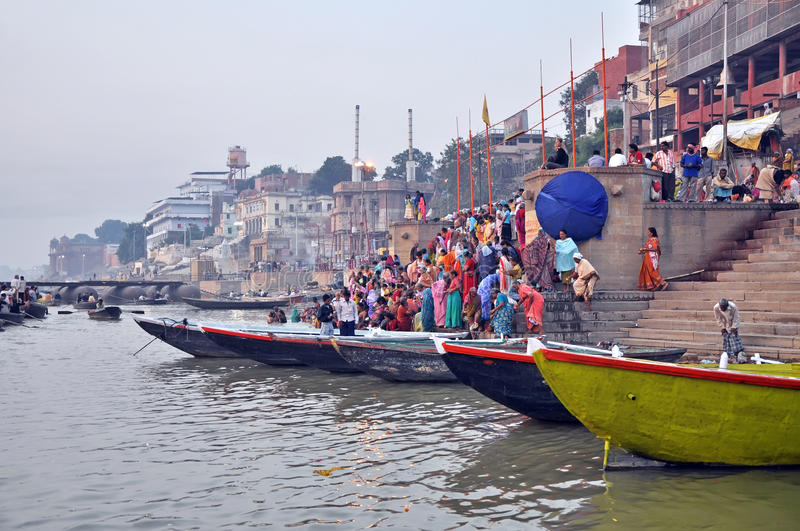Ghat in Varanasi, India stock photography