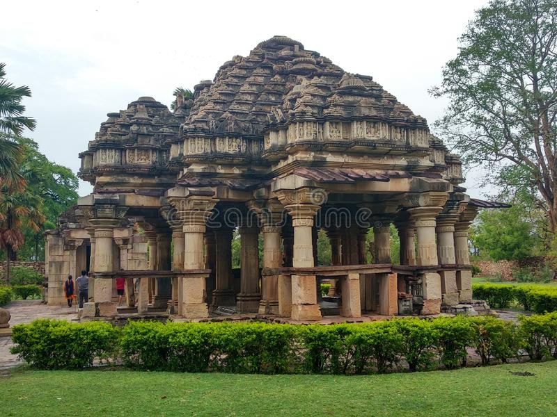 Temple (They are built in the Pratihara style of temple architecture dated to the tenth century A.D.) stock photo