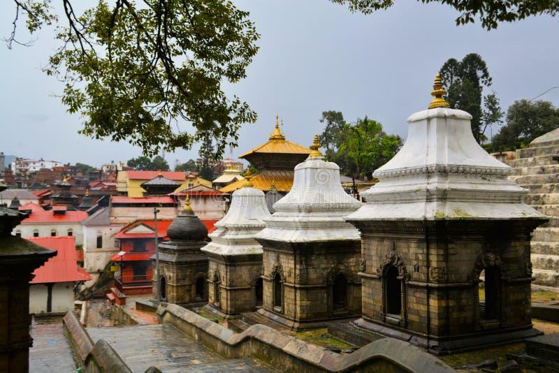 Ghats del tempio e di cremazione di Pashupatinath immagine stock