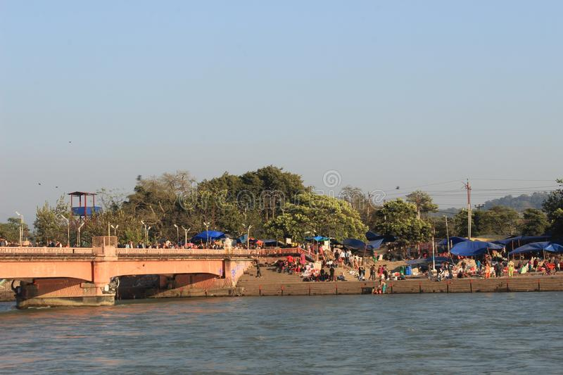 The ghats in Haritwar stock photography