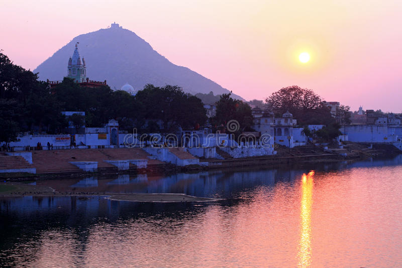 Ghats on pushkar lake, rajasthan, india stock image