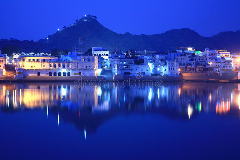 Ghats on pushkar lake, rajasthan, india royalty free stock image
