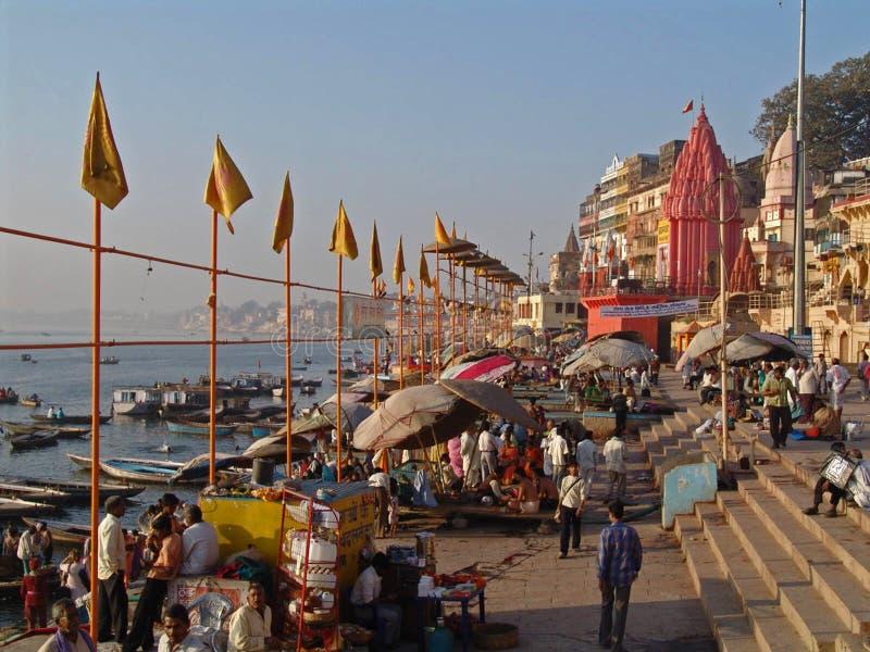 Ghats in Varanasi stock afbeeldingen
