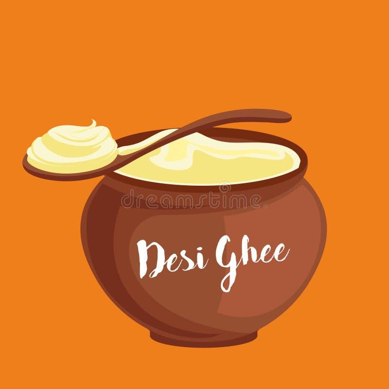 Ghee της Desi απεικόνιση δοχείων ελεύθερη απεικόνιση δικαιώματος