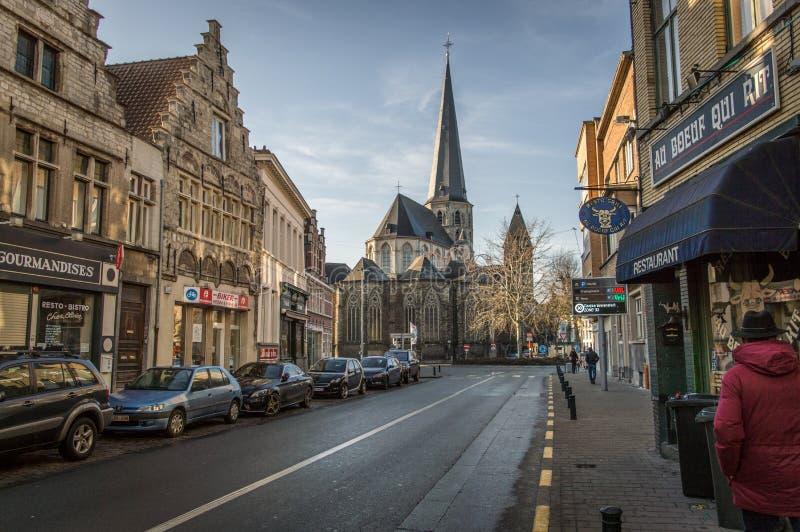 Ghent östliga Flanders/Belgien - Januari 2017: Gator av gamla Ghent royaltyfri bild
