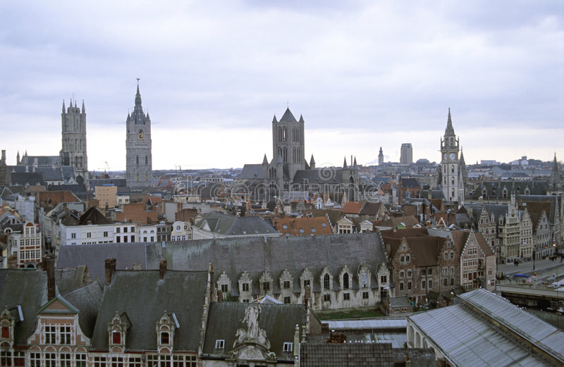 Download Ghent from Above stock image. Image of stone, belgian, mason - 772689