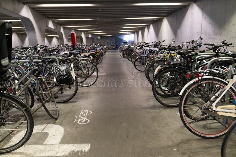 Ghent/Belgium - October 10, 2019:Bicycle parking under the bridge in the heart of Ghent, Belgium royalty free stock image