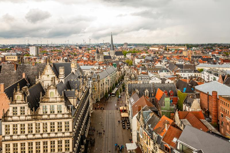 Ghent city historical center panorama view from Belfort Gent bell tower, Flemish Region, Belgium stock photo