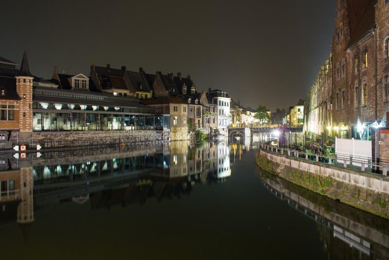 Ghent na noite fotos de stock royalty free