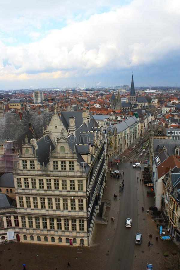 Ghent skyline from tower during day stock images