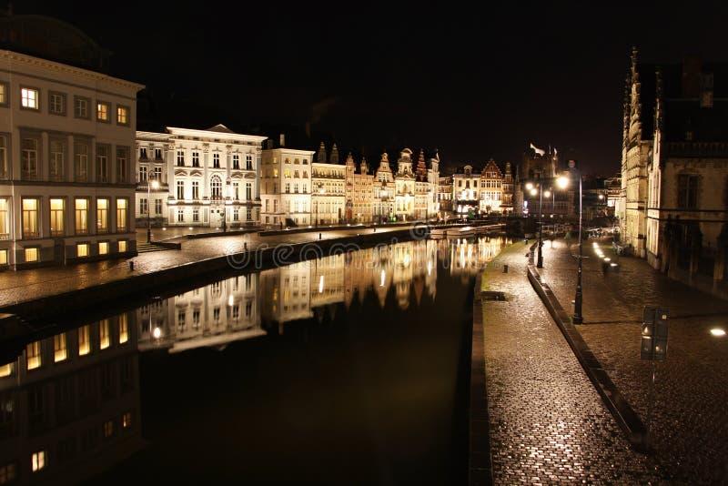 Ghent stary miasteczko przy nocą zdjęcie stock