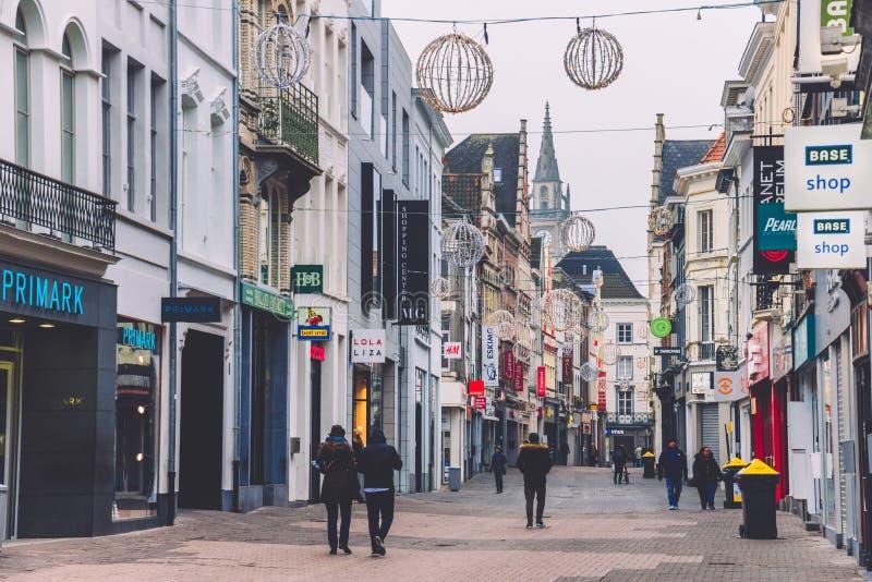 Ghent zakupy ulica w Belgia zdjęcia stock