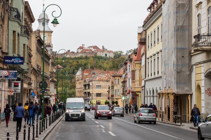 Gheorghe Bartitiu uliczny kwadrat rada rynek w Starym mieście Brasov w Rumunia blisko obraz royalty free