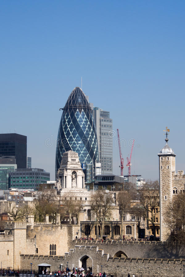 The Gherkin and London Tower stock photos