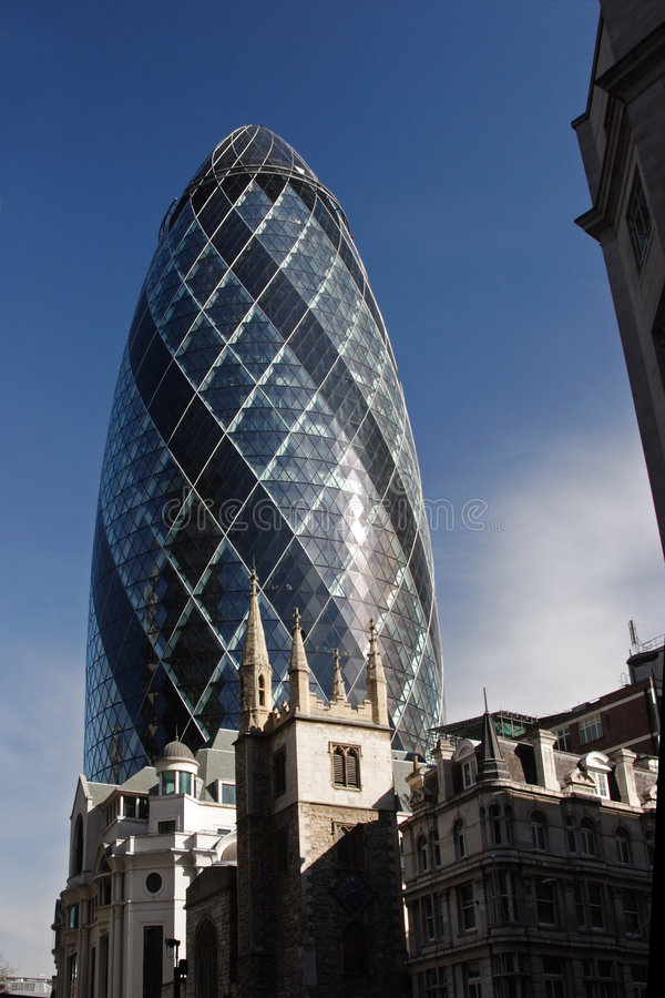 The Gherkin tower. The modern Gherkin tower in London, bank district stock photo