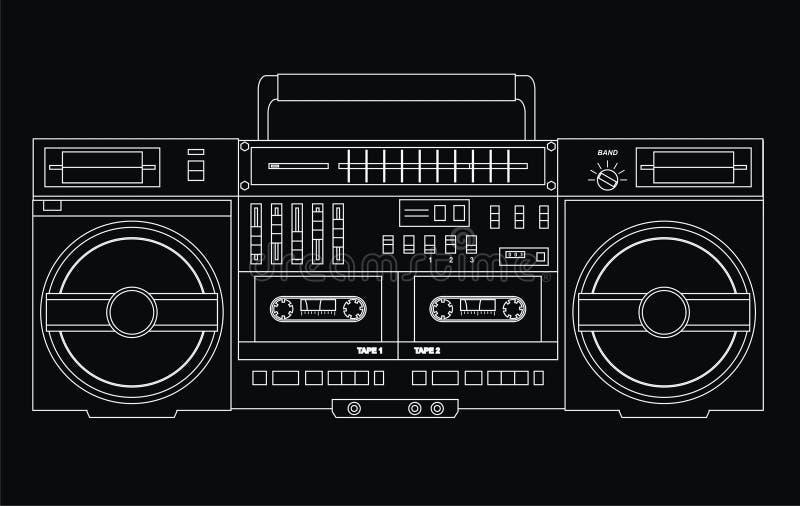 Ghetto blaster. Isolated ghetto blaster tape recorder stock illustration