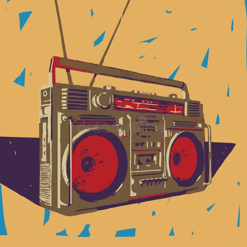 Ghetto blaster illustration. Ghetto blaster boombox vector graphic illustration royalty free illustration