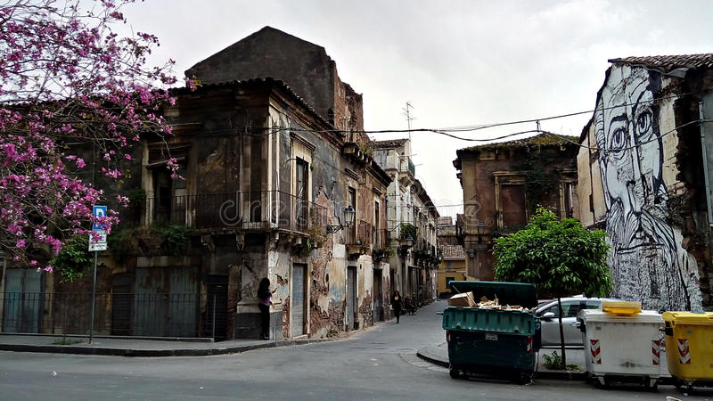 Ghetto in Catania. Old houses - ghetto streets in Catania, Sicily, Italy stock images