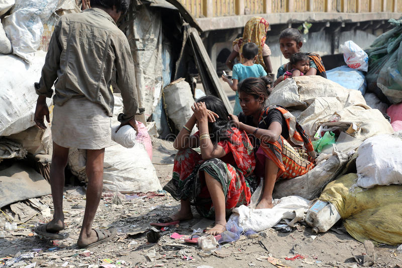 Ghetto and slums in Kolkata. India.These unidentified people live in avery difficult conditions on the ghettos of the city in Kolkata, India on February 12 royalty free stock image