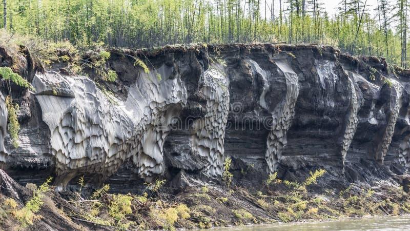 Ghiacci con fango nel letto del fiume di Kolyma immagine stock