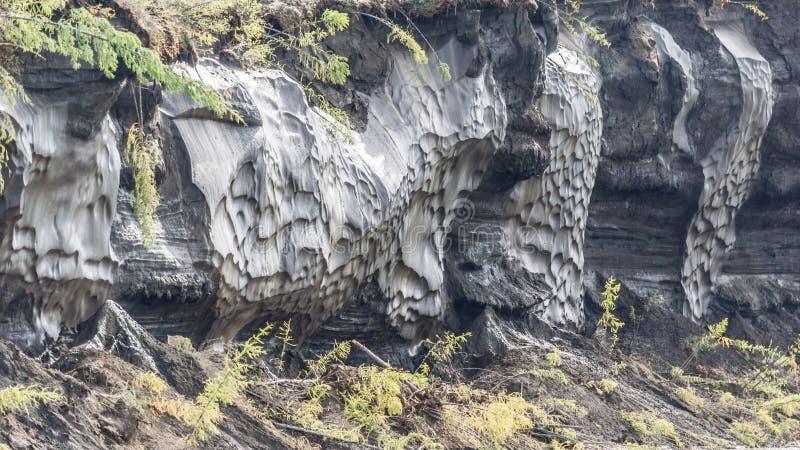 Ghiacci con fango nel letto del fiume di Kolyma immagini stock libere da diritti