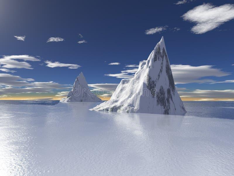 Ghiacciai dell'Alaska con la riflessione dell'acqua illustrazione di stock